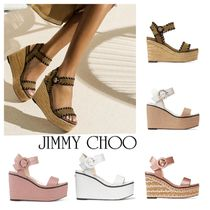 Jimmy Choo Open Toe Suede Blended Fabrics Plain Leather Logo