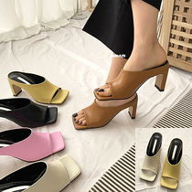 Square Toe Casual Style Faux Fur Plain Block Heels Mules