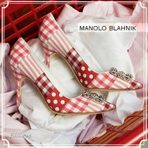 Manolo Blahnik Hangisi Gingham Stripes Dots Casual Style Plain Pin Heels Handmade