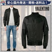 VALENTINO Short Nylon Plain MA-1 Oversized Bomber Jackets