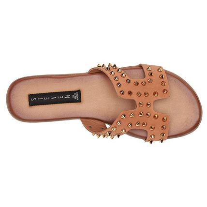 Casual Style Studded Plain Leather Elegant Style Slippers