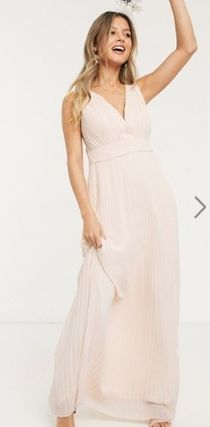Maxi Sleeveless V-Neck Plain Long Party Style Elegant Style