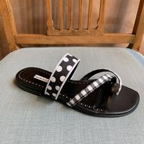Manolo Blahnik SUSAPERF Gingham Open Toe Casual Style Sandals