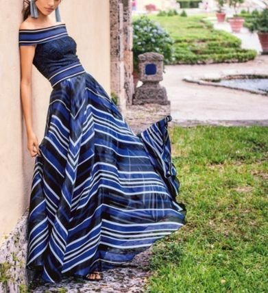 Stripes Flower Patterns Casual Style Maxi A-line Chiffon