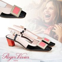 Roger Vivier Square Toe Casual Style Leather Block Heels Party Style