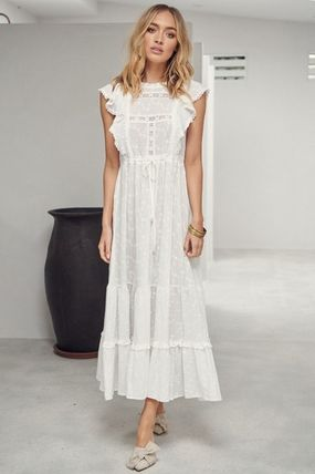 Casual Style Maxi Plain Cotton Long Party Style High-Neck