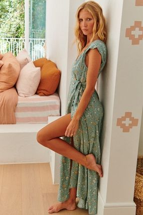 Wrap Dresses Flower Patterns Casual Style Maxi V-Neck Long
