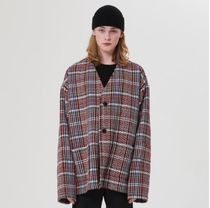 LA MER MA MAISON Other Plaid Patterns Street Style Oversized Cardigans