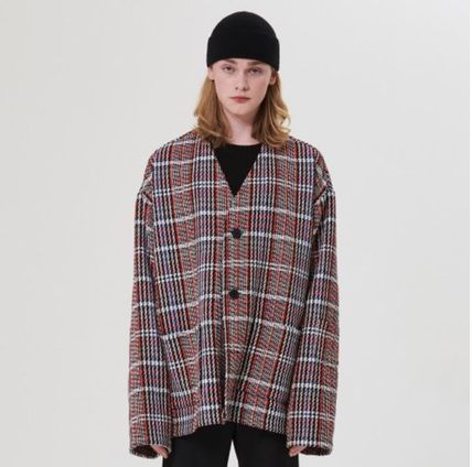 Other Plaid Patterns Street Style Oversized Cardigans