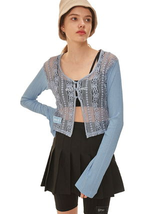Lace-up Long Sleeves Lace Sheer Cardigans