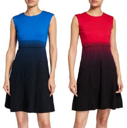 A-line Sleeveless Flared Bi-color Medium Party Style