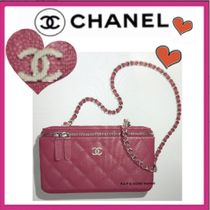 CHANEL ICON Casual Style Calfskin Vanity Bags Chain Plain Elegant Style