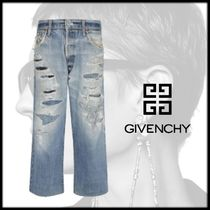 GIVENCHY Short Denim Street Style Plain Cotton Wide & Flared Jeans