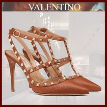 VALENTINO Studded Leather Pin Heels Party Style Elegant Style