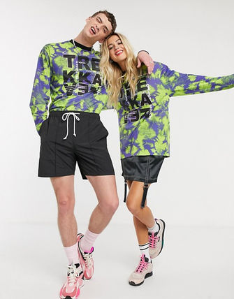 Crew Neck Tropical Patterns Unisex Long Sleeves