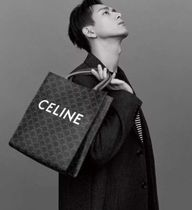 CELINE Triomphe Canvas Unisex Street Style Logo Totes