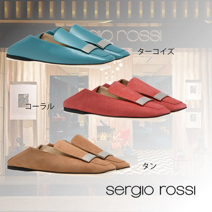 Square Toe Casual Style Plain Leather Slippers Slip-On Shoes