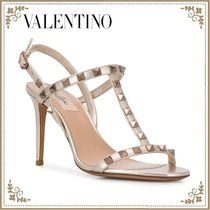 VALENTINO Open Toe Casual Style Studded Plain Leather Pin Heels