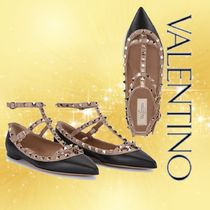 VALENTINO Studded Leather Bridal Ballet Shoes