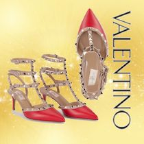VALENTINO Casual Style Studded Leather Party Style Elegant Style
