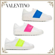 VALENTINO Casual Style Studded Bi-color Plain Leather Low-Top Sneakers