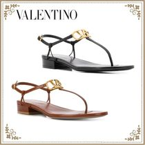 VALENTINO Open Toe Casual Style Plain Leather Logo Sandals Sandal