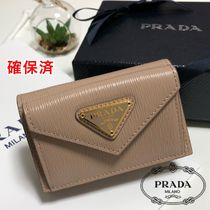 PRADA Plain Leather Folding Wallet Small Wallet Logo