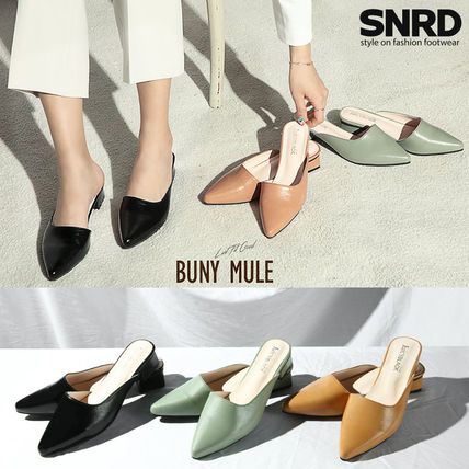 Casual Style Faux Fur Plain Block Heels Mules Sandals