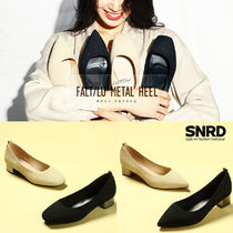 paperplanes Square Toe Plain Block Heels Office Style
