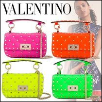 VALENTINO Studded Chain Leather Crossbody Logo Shoulder Bags