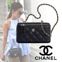 CHANEL Casual Style Calfskin Vanity Bags 2WAY Chain Plain