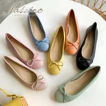 Suede Plain Leather Icy Color Ballet Shoes
