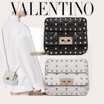 VALENTINO 3WAY Plain Leather Party Style Office Style Elegant Style