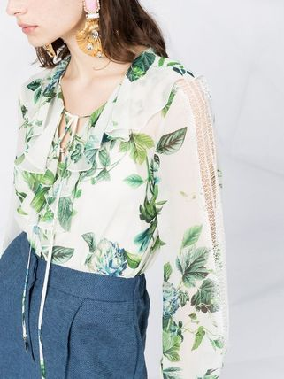 Flower Patterns Casual Style Silk Long Sleeves Office Style