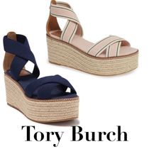 Tory Burch Stripes Open Toe Platform Rubber Sole Casual Style Plain