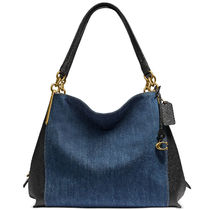 Coach Casual Style Denim Blended Fabrics Plain Leather Totes