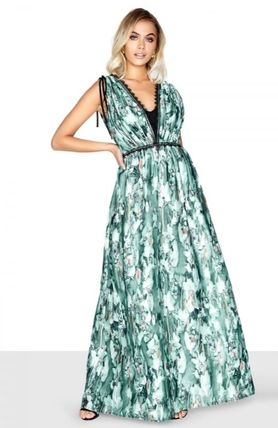 Flower Patterns Maxi Sleeveless Flared V-Neck Long
