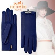 HERMES Street Style Plain Leather Logo