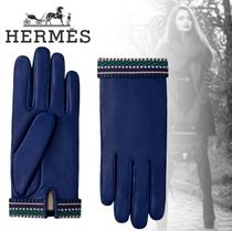 HERMES Street Style Leather Logo Leather & Faux Leather Gloves