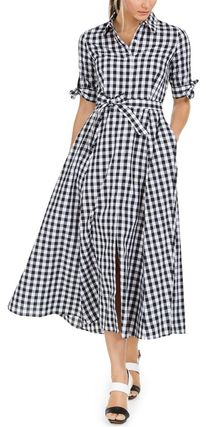 Gingham Cotton Long Short Sleeves Shirt Dresses