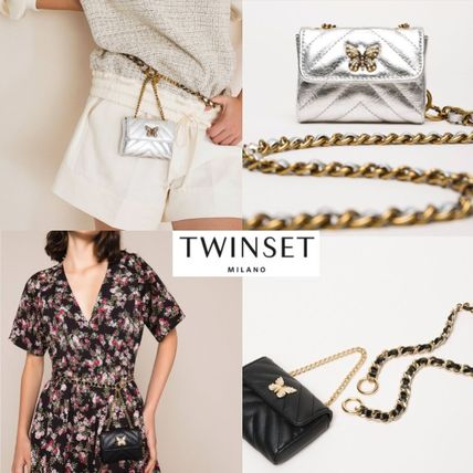 Blended Fabrics Chain Leather Chain Wallet Logo Accessories