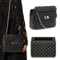 VALENTINO Casual Style Studded 3WAY Chain Leather Office Style