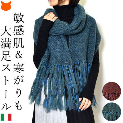 Wool Nylon Plain Knit & Fur Scarves