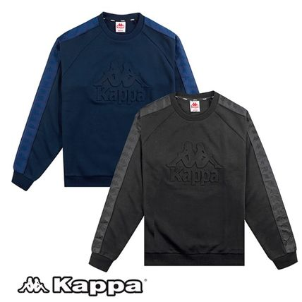 Kappa Sweatshirts Unisex Street Style Long Sleeves Plain Cotton Oversized