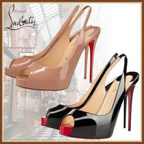 Christian Louboutin Open Toe Platform Casual Style Enamel Pin Heels Party Style