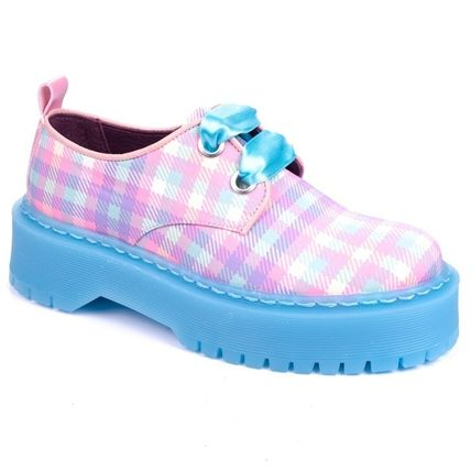 Other Plaid Patterns Platform Casual Style Leather Shoes
