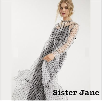 Dots Long Sleeves Long Party Style High-Neck Elegant Style