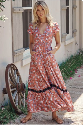 Flower Patterns Casual Style Maxi A-line V-Neck Long