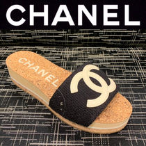 CHANEL ICON Open Toe Platform Casual Style Tweed Blended Fabrics