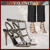 VALENTINO Open Toe Casual Style Studded Pin Heels Party Style